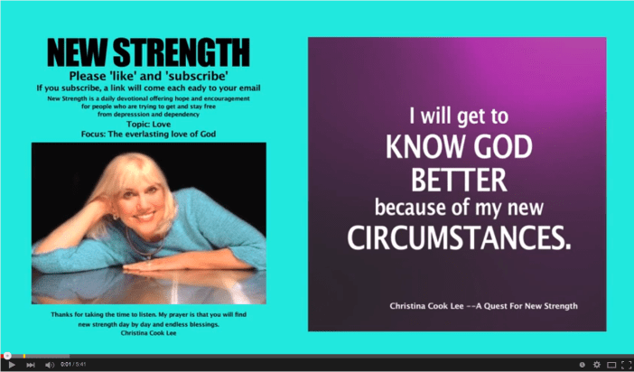 I will get to know God better because of my new circumstances. --Christina Cook Lee, A Quest For New Strength