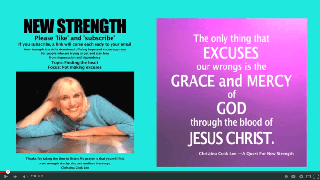 The only thing that excuses our wrongs is the grace and mercy of God through the blood of Jesus Christ. --Christina Cook Lee, A Quest For New Strength