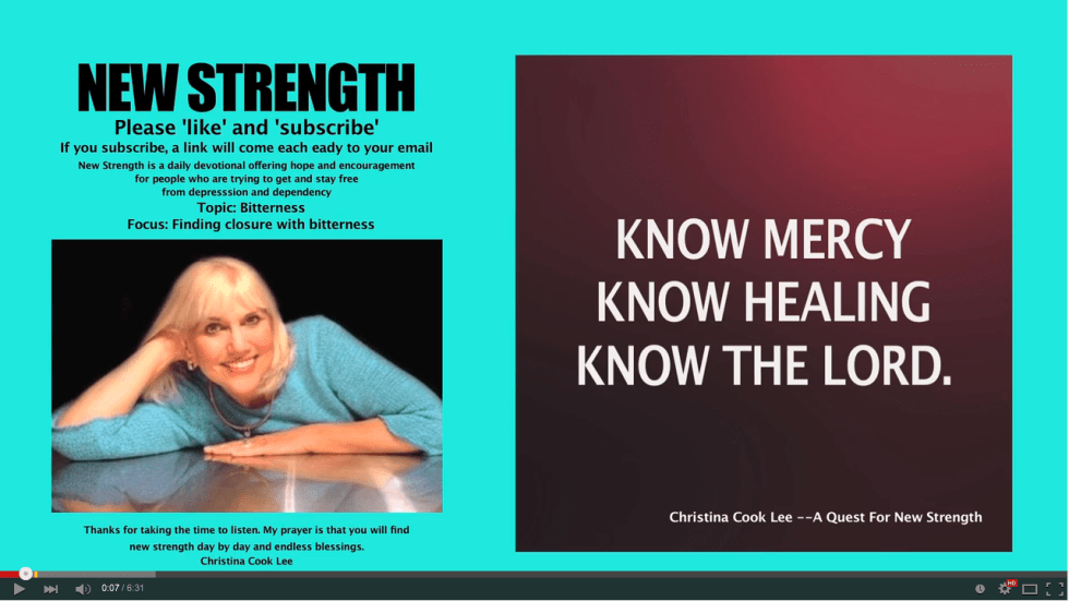 Know mercy, know healing, know the Lord. --Christina Cook Lee, A Quest For New Strength