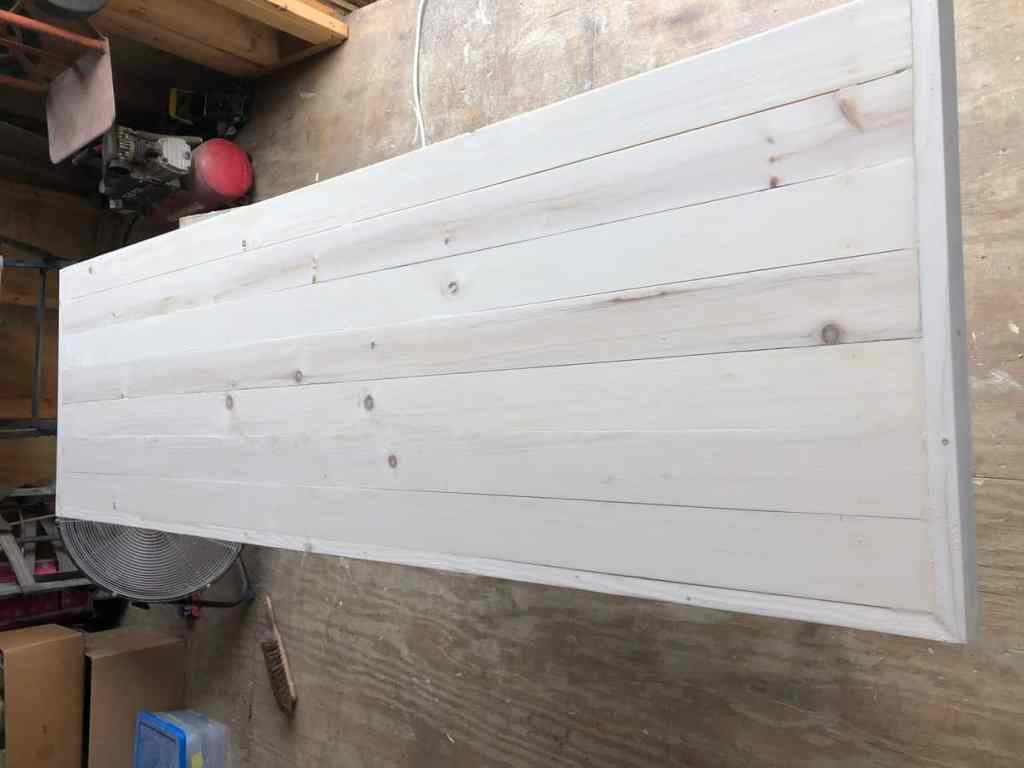 Constructing the wood plank top.