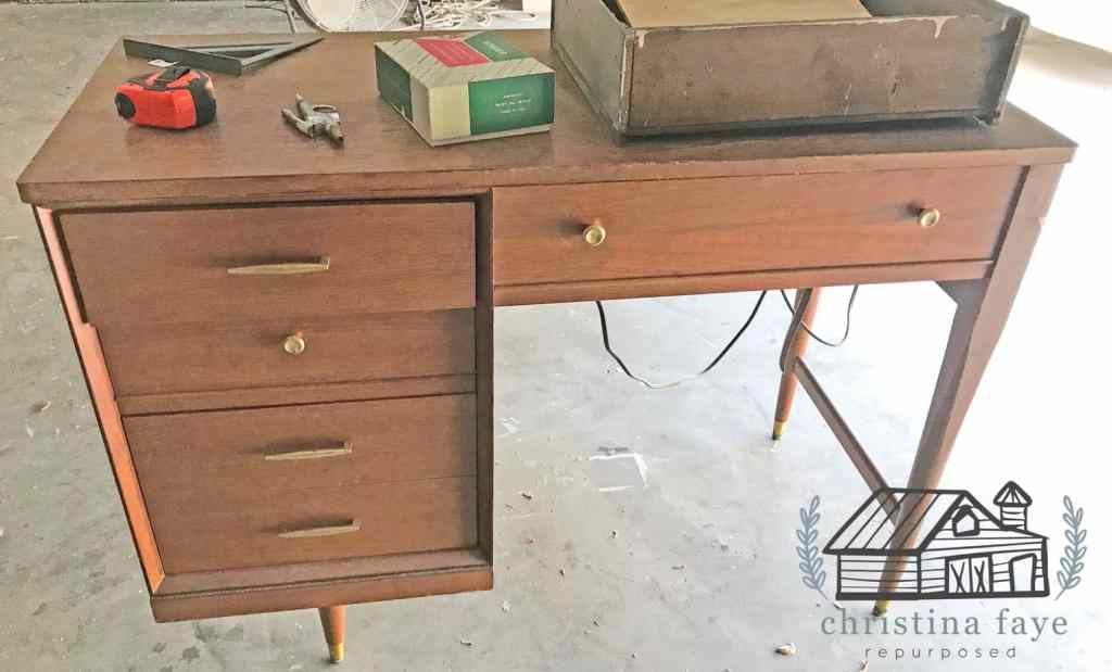 Old Sewing Machine Cabinet With Drawers and Brass Hardware.
