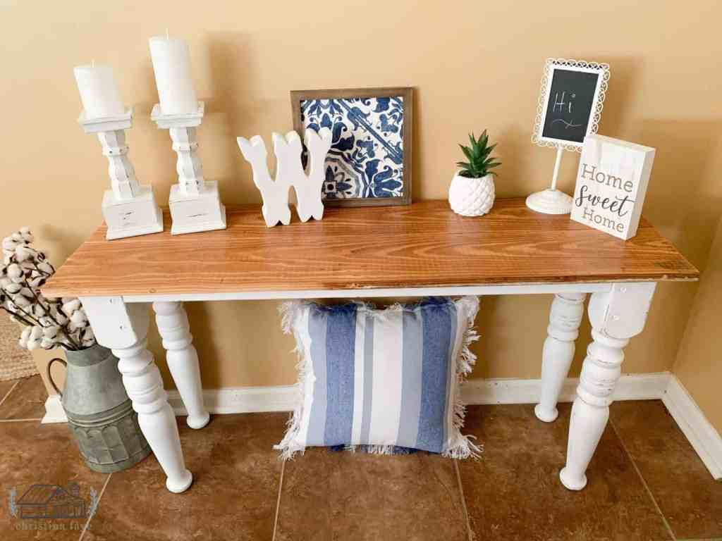 Placing items on entryway table