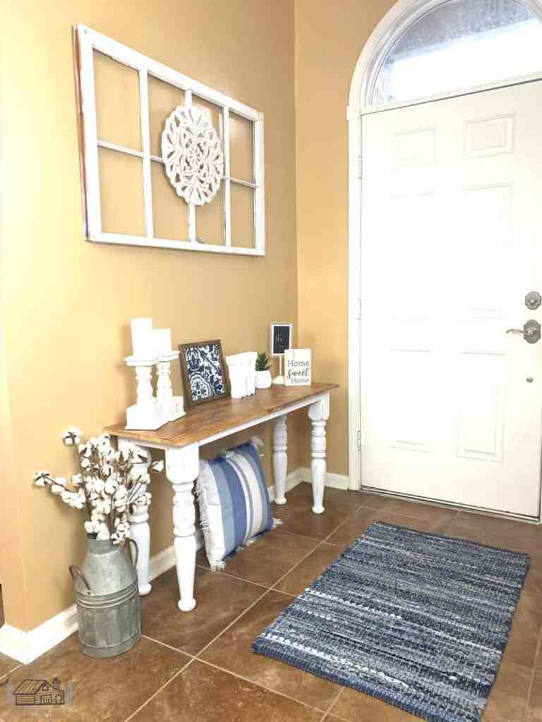 Entryway table decorated after