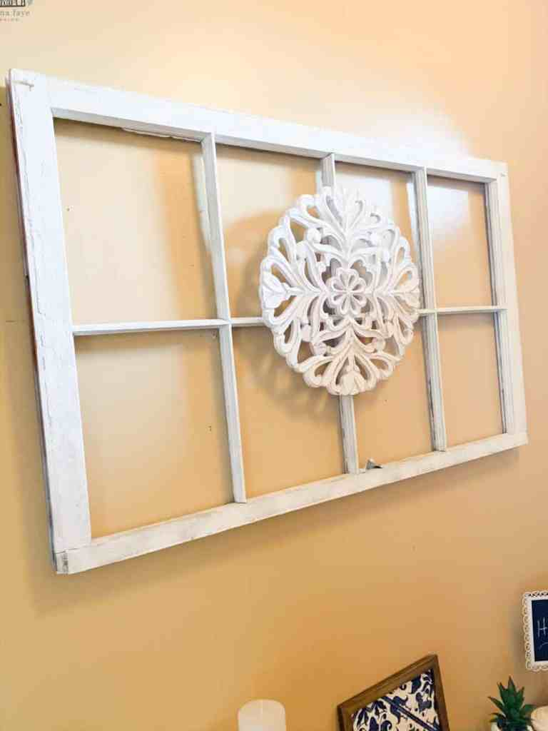 Old window hung on wall