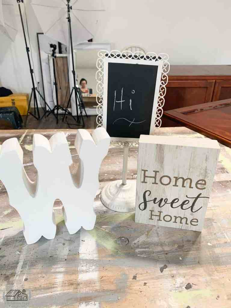 "White ""W"" letter, Small Home Sweet Home Wood sign, Ornate white chalkboard decor."
