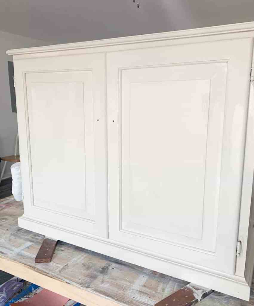 Kitchen cabinet with two coats of Dixie Belle Drop cloth paint.