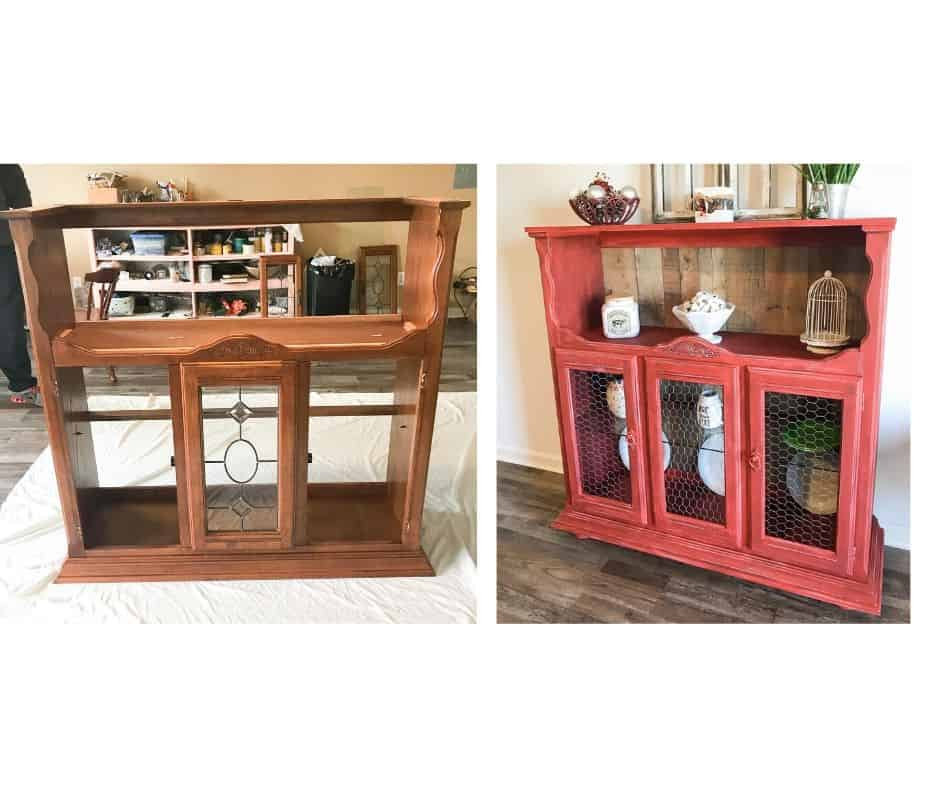 Upside down hutch top brown and after paint red.