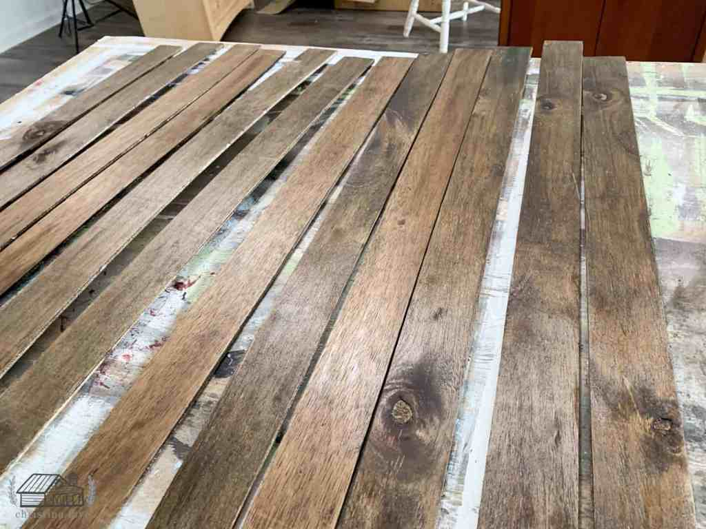 Wood planks with stain added