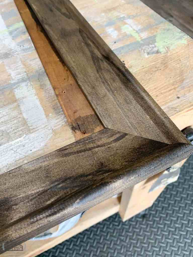 Adding stain to thrift store wood frame
