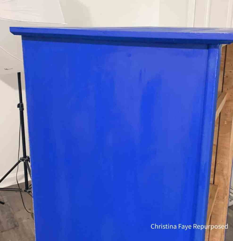 Two coats of Dixie Belle Cobalt Blue added to chest of drawers.