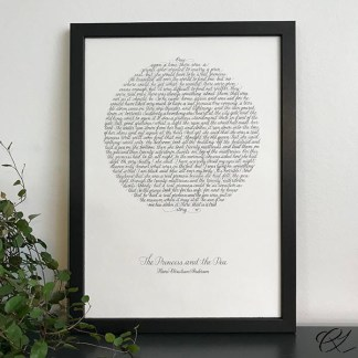 Calligraphic artwork - The Princess and the Pea