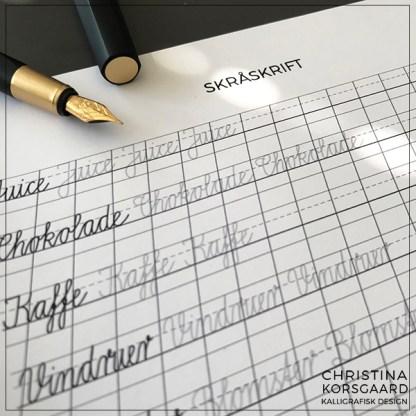Lær skråskrift - træningsark med ord til indkøbslisten.