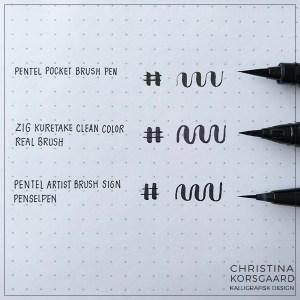 Favorit brush lettering penne med rigtig pensel