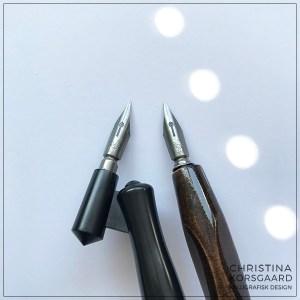 Kalligrafi - forskellen på dyppepen med vinklet og lige skaft
