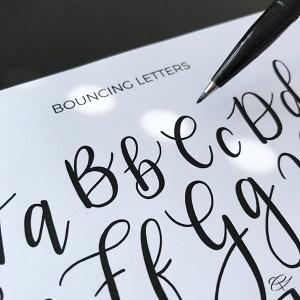 Bouncing Brush Lettering - Øveark