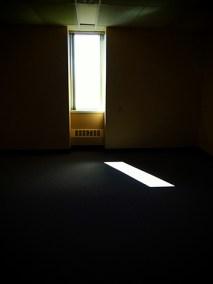 Thin window in a dark room.