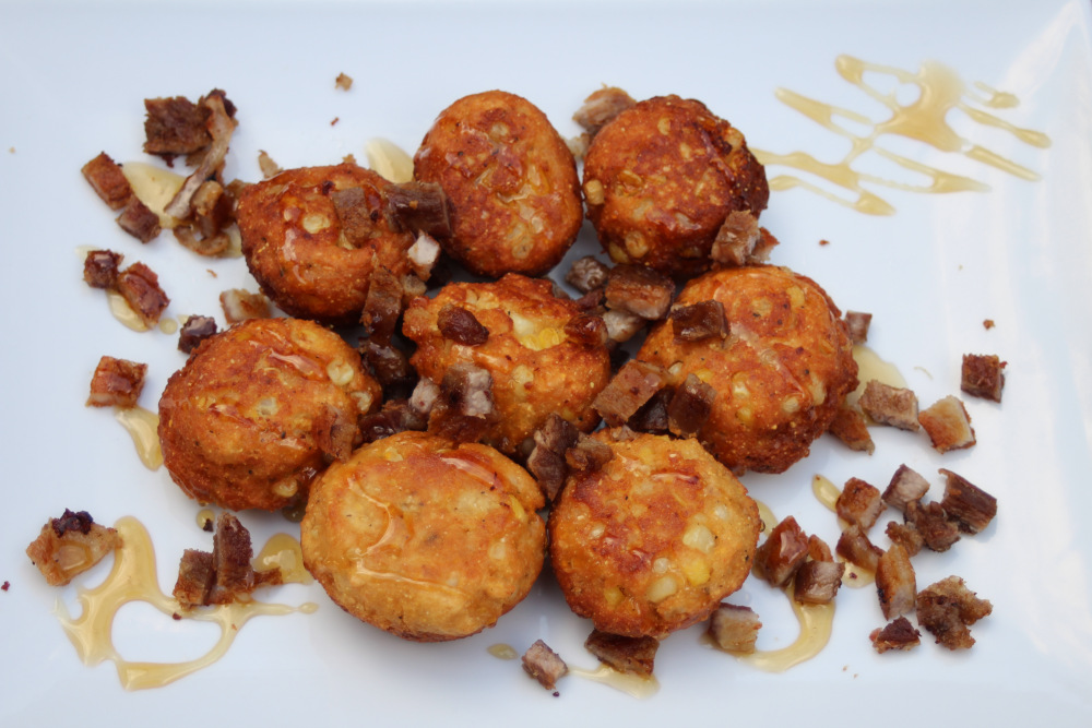 Corn Fritters With Honey-Bacon Drizzle
