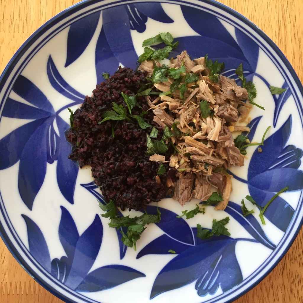 pork and rice with cilantro-lime sauce