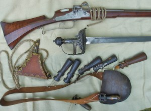 Musketeer's equipment- Photo courtesy Flickriver/snowshoemen.