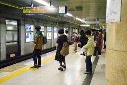 Queeing in Nagoya metro.