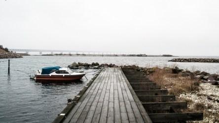 Öresundsbron, the bridge that connects Sweden with Denmark seen from the laguna by Sibbarp.
