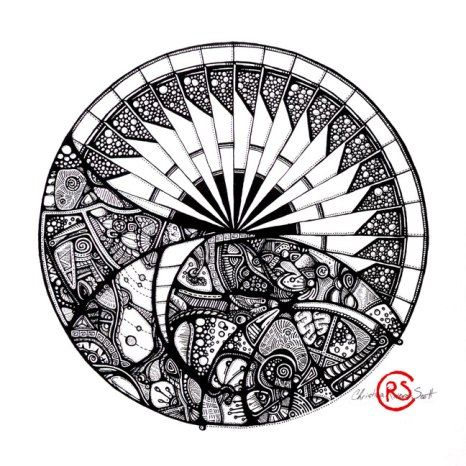 """Horizon Mandala"" - black and white abstract art by Christina-Rivera Scott"