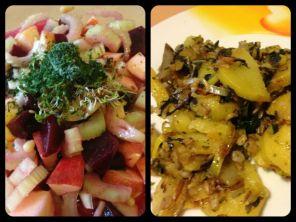 Kartoffel-Mangold Pfanne mit Rüben-Apfel-Sellerie Salat