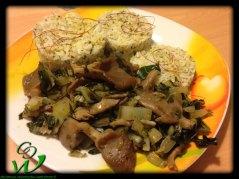 Austerpilze-Mangold-Pfanne-mit-Kräuterreistürmchen