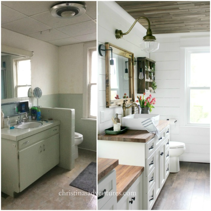 vintage inspired farmhouse bathroom makeover - christinas adventures
