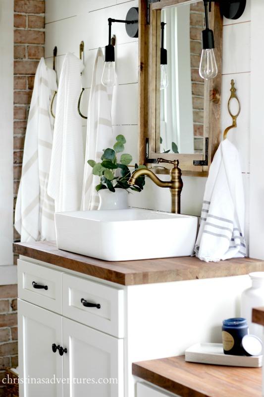 Vintage Inspired Farmhouse Bathroom Makeover - Christinas ... on Farmhouse Bathroom  id=79468