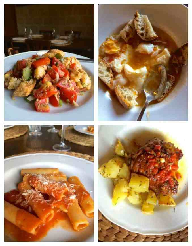 dishes of food at Il Contadino cucina povera recipes