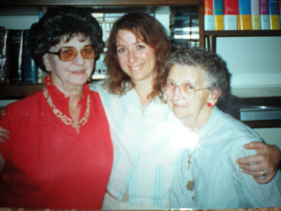My Aunt Amy, me, and Grandma Hazel Cunningham. Amy and Hazel were sisters.