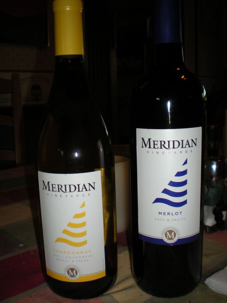 Two bottles of Meridian wine.