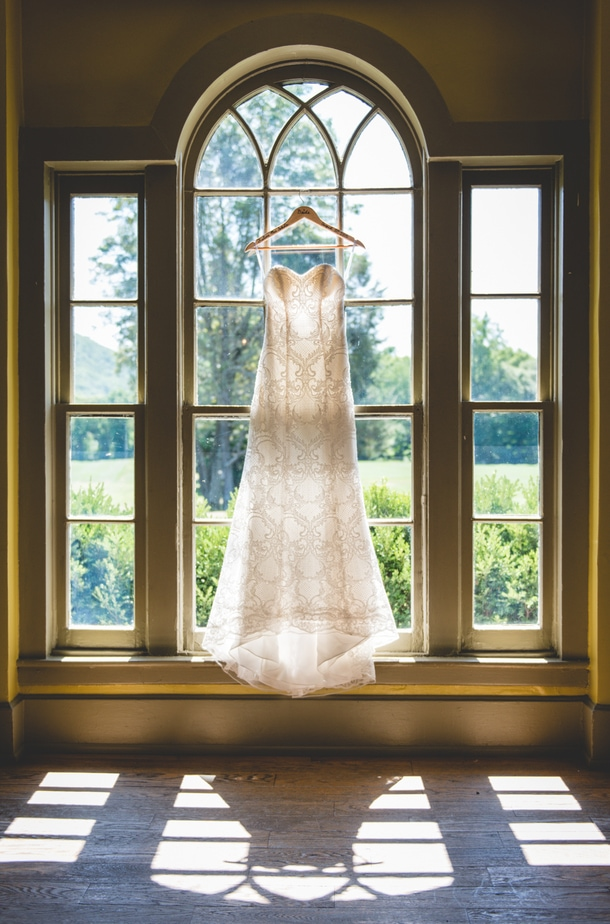 Wedding Dress in Window at a Highlands Country Club Wedding in Garrison, NY