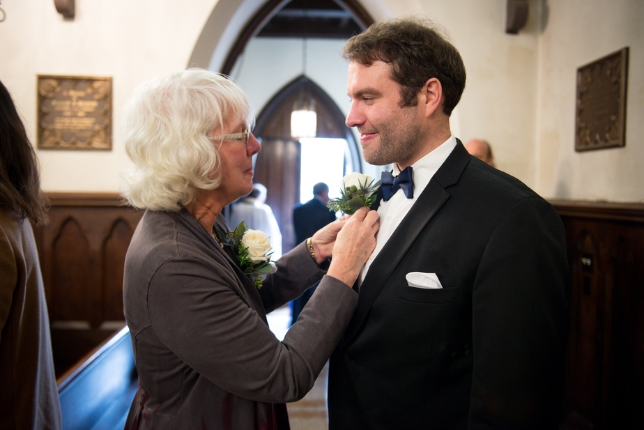 Mom and Groom Before St. Philips Church Wedding in Garrison, NY