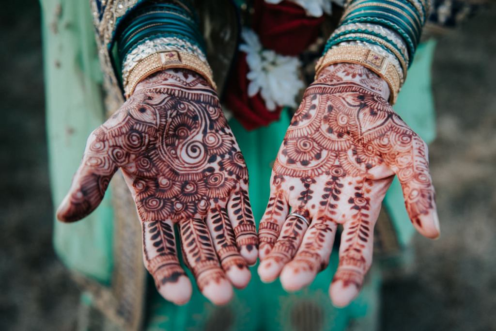 Indian wedding photography henna hand detail