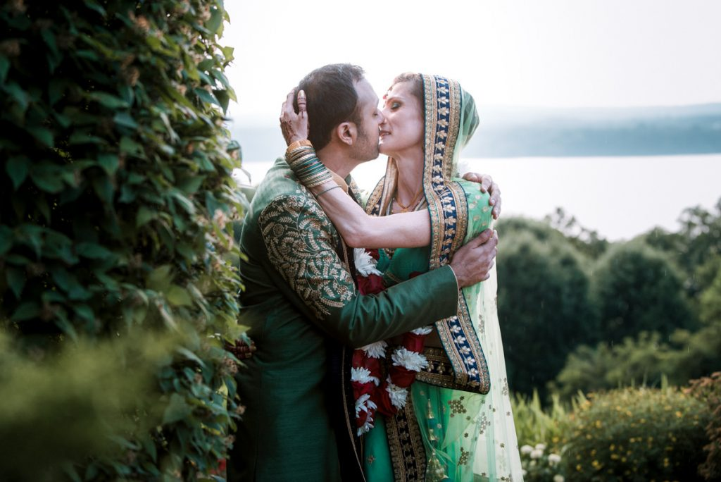 Upstate New York wedding photo of bride and groom at a Indian wedding in Beacon New York at Dutchess Manor