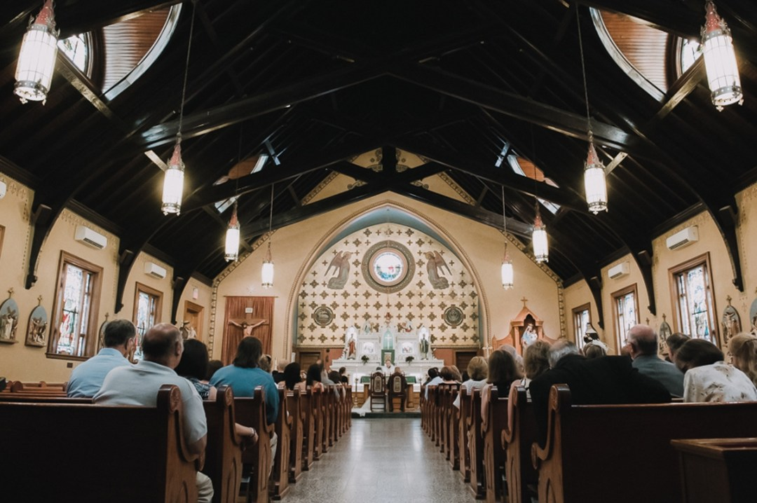 Our Lady Of Loretto Church wedding ceremony in Cold Spring, NY