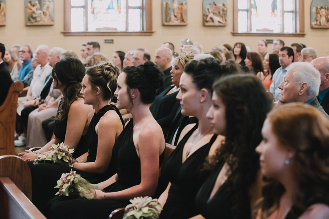 Bridesmaids at an Our Lady Of Loretto Church in Cold Spring, NY