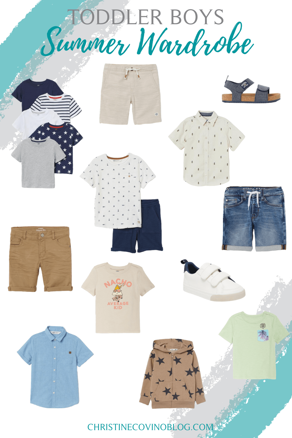 collage of summer wardrobe for toddler boys