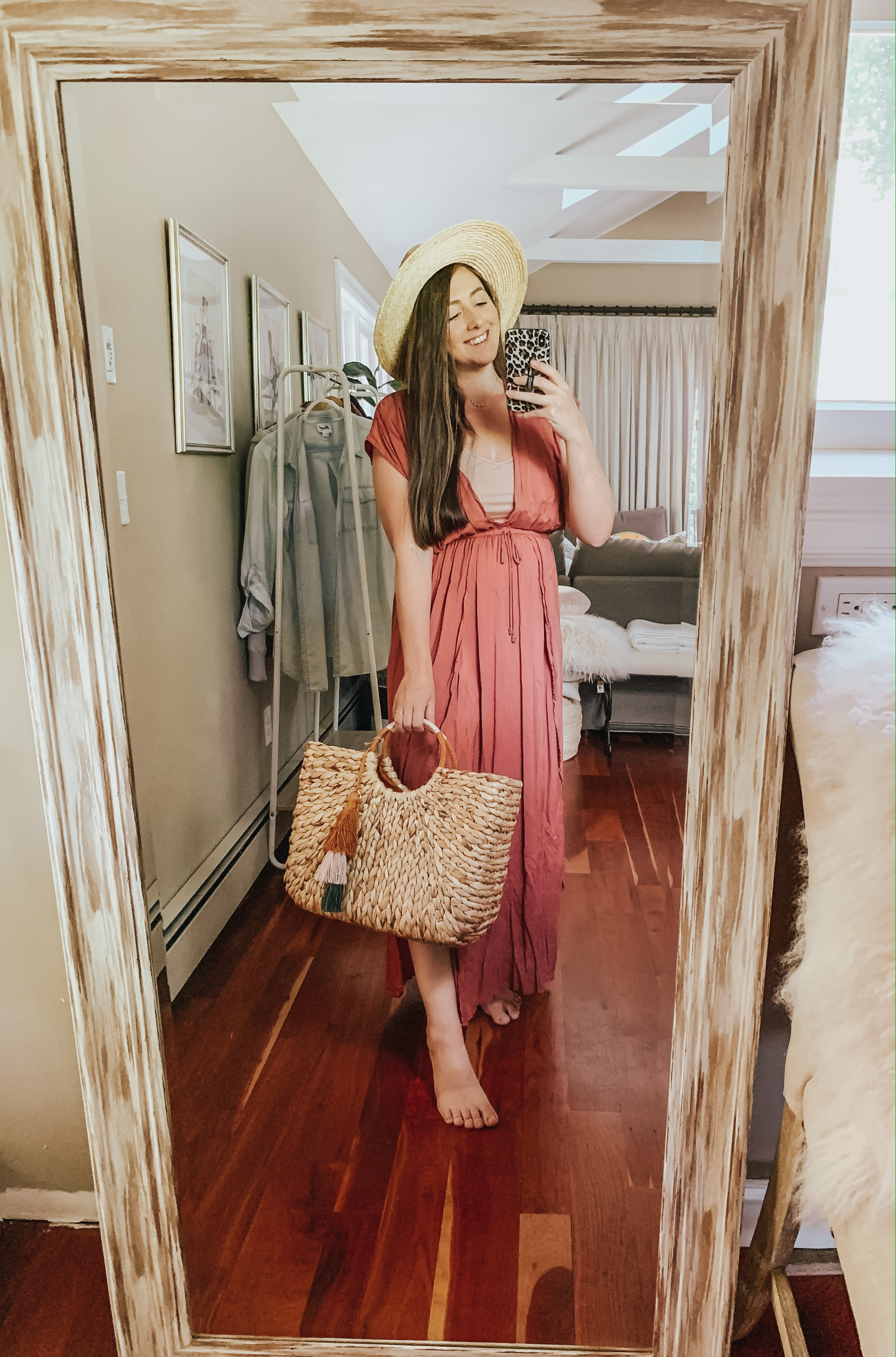 Christine Covino, lifestyle blogger wearing red summer dress