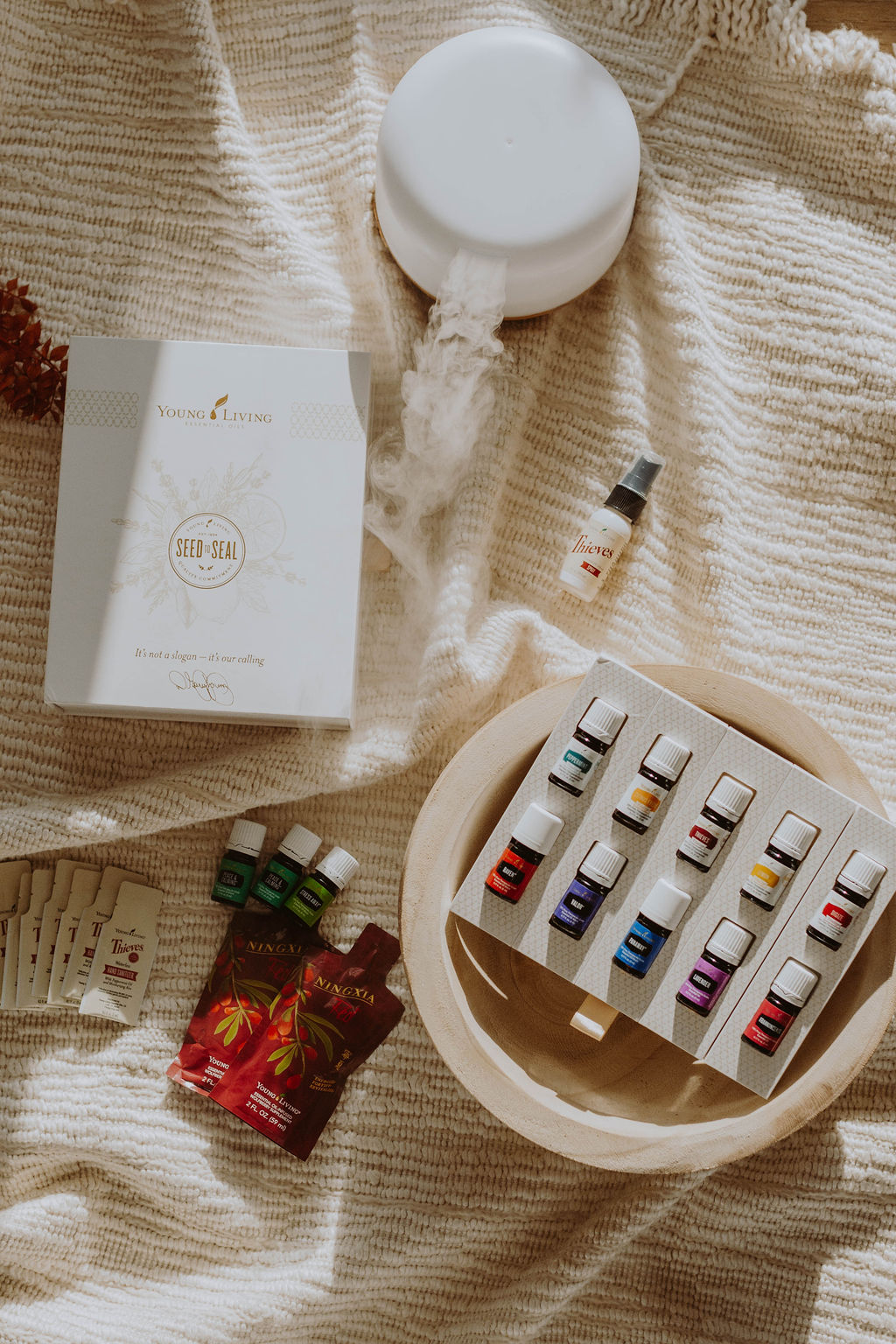 flat lay of young living oils