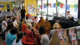 Tibetan monks meditation in Tamborine library