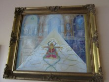 This painting depicts the Elohim on the upper left and the fallen angels on the upper right. The aspirant is going into the Hall of Records. It was painted for me by Gary Handford and I was told others would recognise the image.