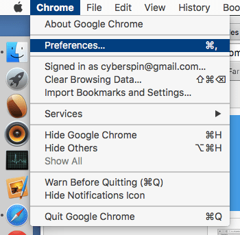 opening the menu in Chrome
