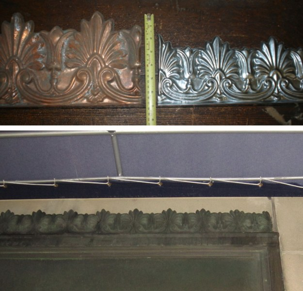 Remnant of original cresting (bottom) and shopfront signage panel with matching cresting found at W. F. Norman
