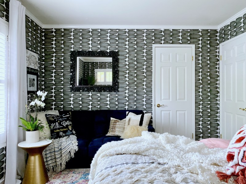 Christine Kohut Interiors, design ninja, designninja, ORC, one room challenge, better homes and gardens, design blog, bedroom makeover, guest bedroom ideas, bedding, lumbar pillow, Project Coast to Coast, California, wallpaper, wallcovering, small bedroom, cozy lounge, pillows