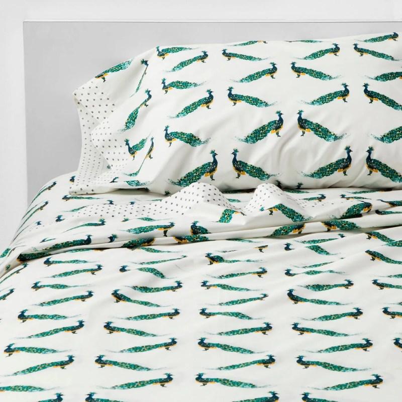 Design Ninja, Christine Kohut Interiors, peacock print cotton percale sheets for sale at Target