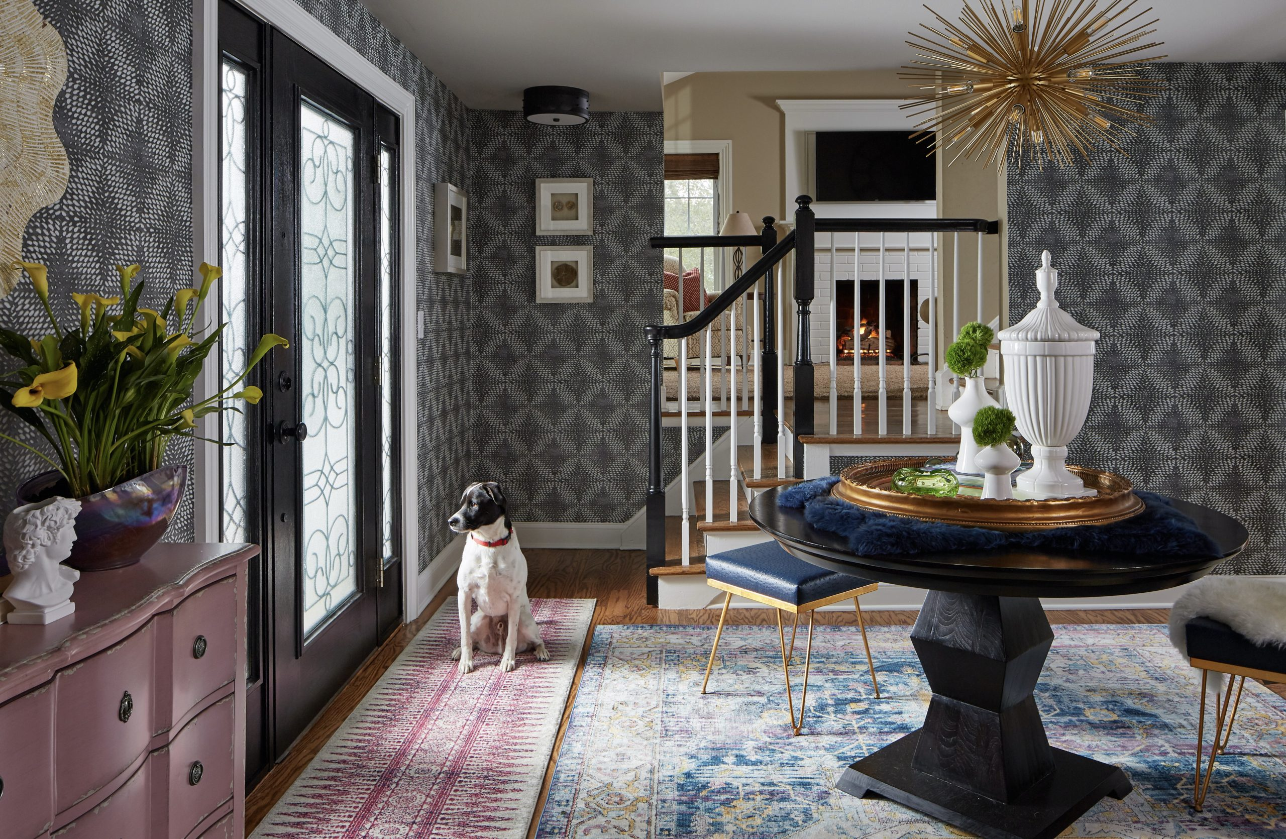 HGTV, Christine Kohut Interiors, ENTRYWAY, CENTERPIECE, AREA RUG, COLORFUL ROOM, FUNKY ROOM, BOLD DESIGN, PROJECT SHUT THE FRONT DOOR, ONE ROOM CHALLENGE, BETTER HOMES AND GARDENS, ORC FALL 2018, #DESIGNNINJA, #ONEROOMCHALLENGE, #BHGORC, #PROJECTSHUTTHEFRONTDOOR, close up, before and after, DECORATING, SPUTNIK CHANDELIER, FOYER, WALLPAPER