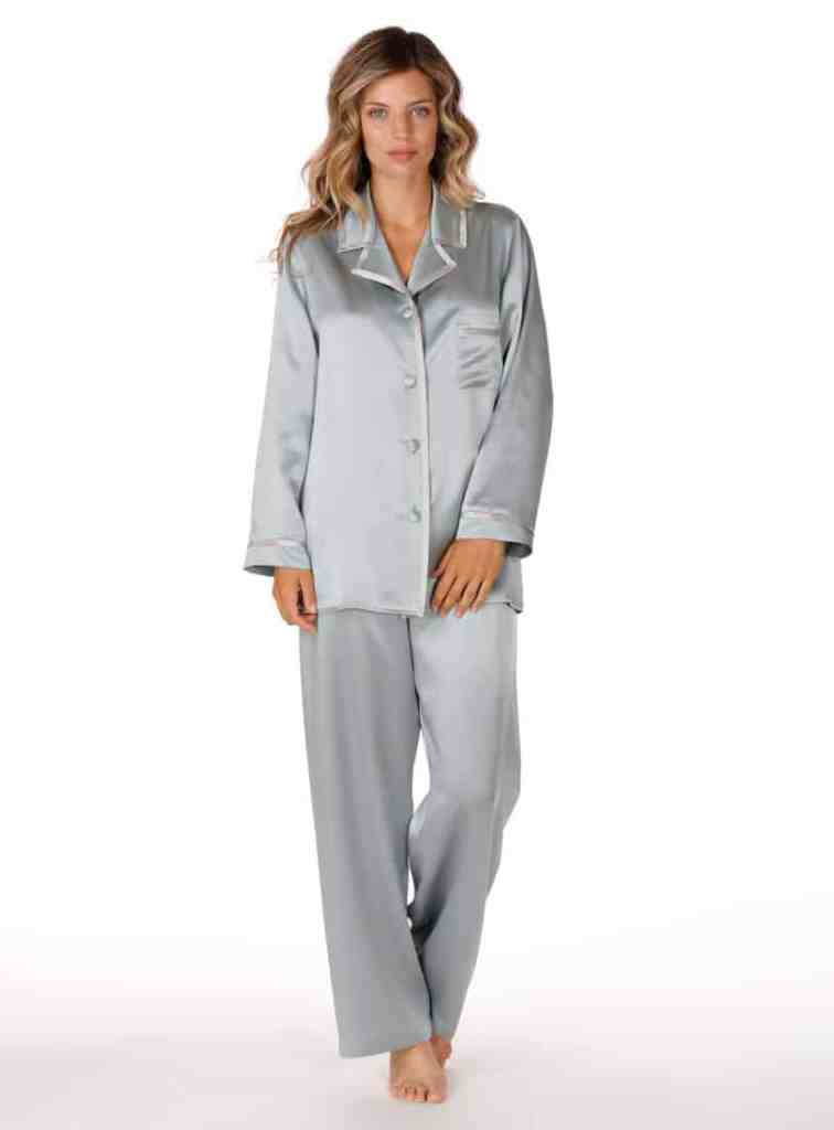 silk blue pajama set is worn by a women